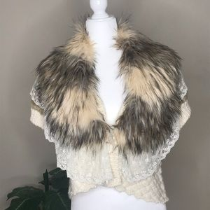 Romeo & Juliet Cream Faux Fur and Lace Sweater